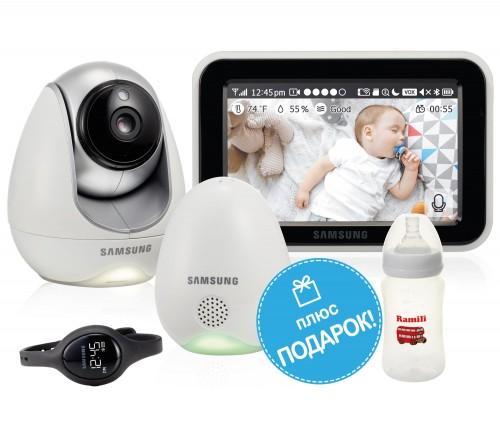 Видеоняня Samsung SEW-3057WP (Wi-Fi и FHSS, датчик окружающей среды, наручные вибро-часы)